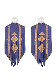 Gold Finish Leather Earrings by Bansri
