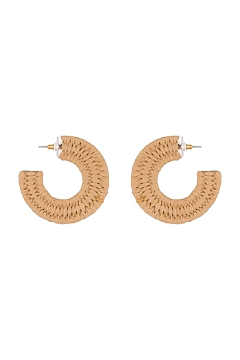 Gold Plated Rafia Hoop Earrings by Bansri