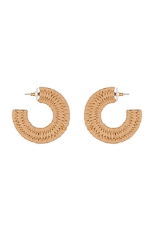 Gold Plated Rafia Hoop Earrings by Bansri