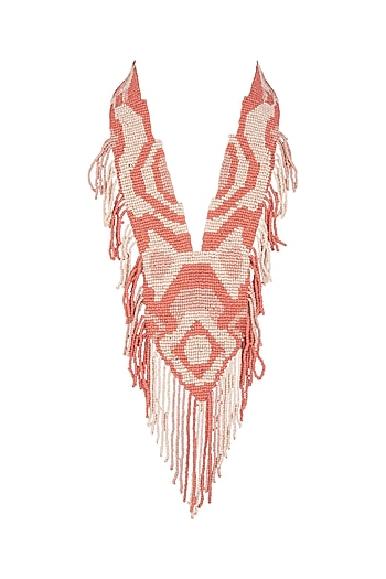 Pink Two-Toned Beaded Necklace by Bansri