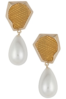 Gold plated pearl drop earrings by Bansri