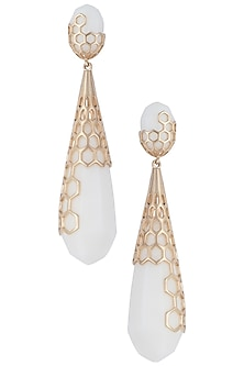 Gold plated long drop earrings by Bansri