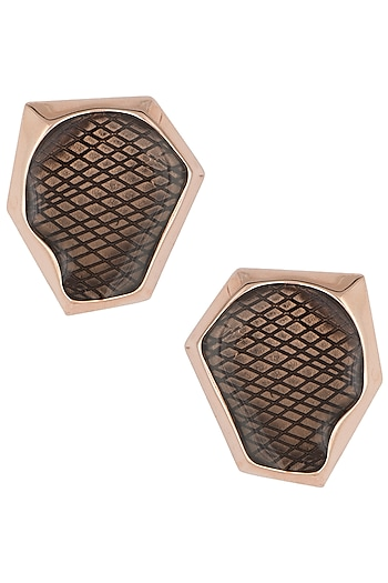 Rose gold plated stud earrings by Bansri