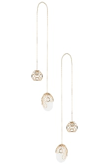 Gold plated threader earrings by Bansri