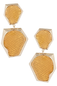 Gold plated double drop earrings by Bansri