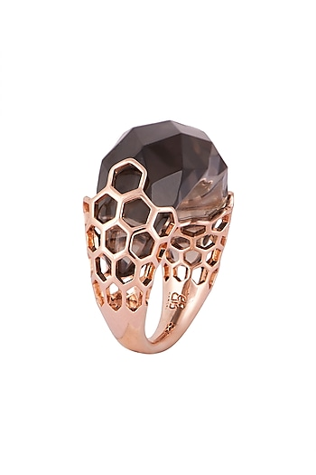Rose gold plated resin ring by Bansri