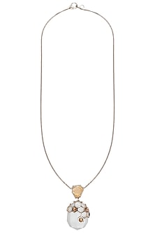 Gold plated pearl pendant necklace by Bansri