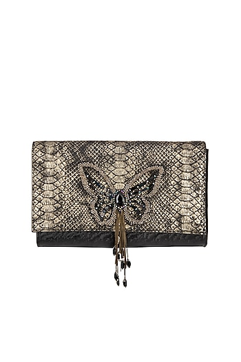 Blackish Gold Embroidered Clutch by Born 2 Flaaunt