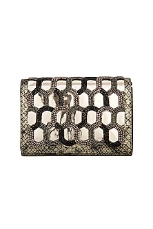 Black & Gold Embroidered Clutch by Born 2 Flaaunt