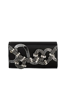 Black Embroidered Box Shaped Clutch by Born 2 Flaaunt