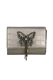 Silver Butterfly Embroidered Clutch by Born 2 Flaaunt