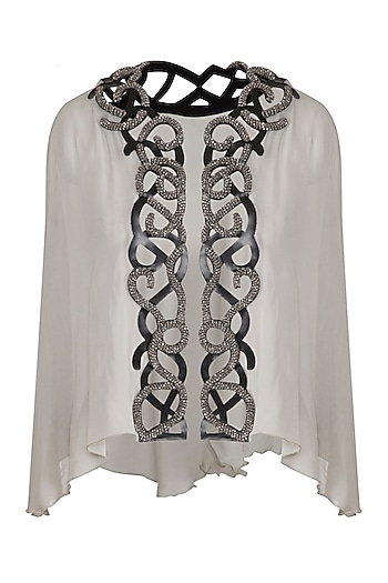 Pale Mint Green Embellished Short Cape by Born 2 Flaaunt