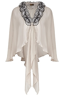 Beige Tie-Up Short Cape by Born 2 Flaaunt