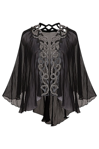 Black Embellished Georgette Short Cape by Born 2 Flaaunt