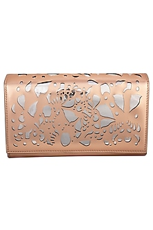 Rose Gold Embroidered Box Shaped Clutch by Born 2 Flaaunt
