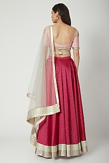 Blush Pink Embroidered Lehenga Set With Belt by Breathe By Aakanksha Singh