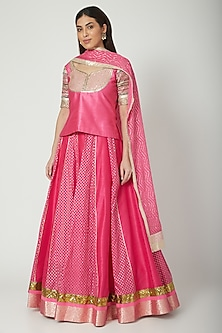 Fuchsia Embroidered Lehenga Set by Breathe By Aakanksha Singh