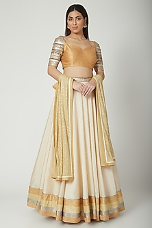 Mustard Embroidered Lehenga Set by Breathe By Aakanksha Singh