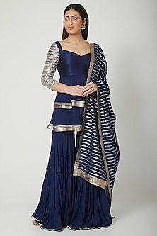 Cobalt Blue Embroidered Sharara Set by Breathe By Aakanksha Singh