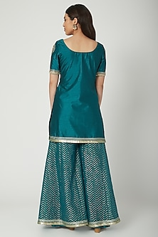 Emerald Green Embroidered Sharara Set by Breathe By Aakanksha Singh
