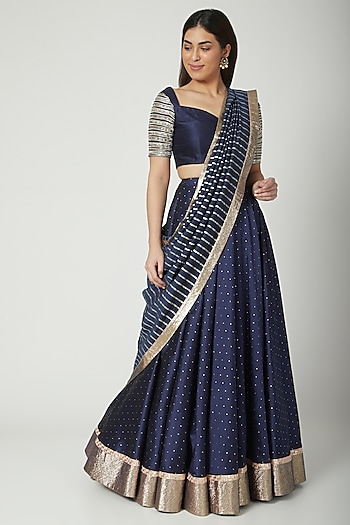 Cobalt Blue Embroidered Lehenga Set by Breathe By Aakanksha Singh