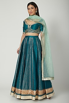Emerald Green Zardosi Embroidered Lehenga Set by Breathe By Aakanksha Singh