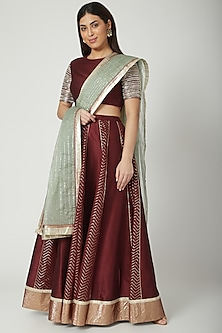 Wine Embroidered Lehenga Set by Breathe By Aakanksha Singh