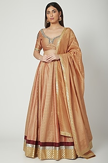 Bronze Zardosi & Dabka Embroidered Lehenga Set by Breathe By Aakanksha Singh