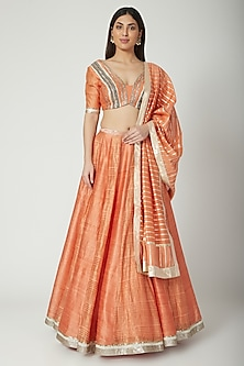 Orange Embroidered Lehenga Set by Breathe By Aakanksha Singh