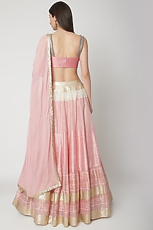 Rose Quartz Pink Tiered Lehenga Set by Breathe By Aakanksha Singh