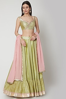 Apple Green Embroidered Lehenga Set by Breathe By Aakanksha Singh