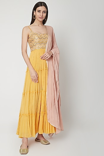 Yellow Embroidered Anarkali Set by Breathe By Aakanksha Singh