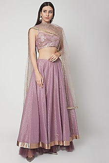 Light Purple Embroidered Lehenga Set by Breathe By Aakanksha Singh