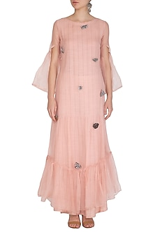 Icy Peach Embroidered Long Kurta With Straight Pants by Breathe By Aakanksha Singh