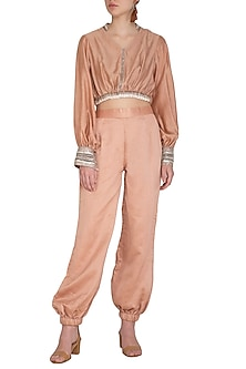 Rusty Peach Embroidered Crop Top With Jumper Pants by Breathe By Aakanksha Singh