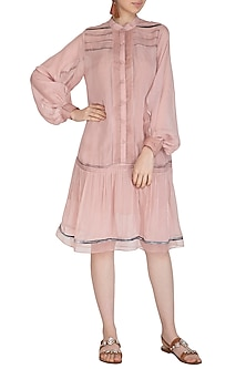 Icy Peach Embroidered Shirt Dress by Breathe By Aakanksha Singh