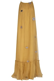 Yellow Embroidered Maxi Dress by Breathe By Aakanksha Singh