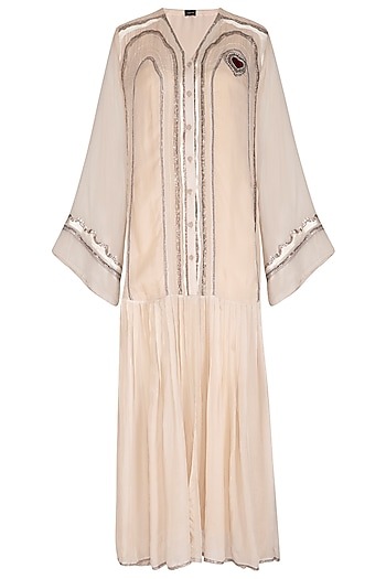 Off White Embroidered Long Open Kurta With Inner by Breathe By Aakanksha Singh
