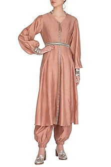 Rusty Peach Embroidered Kurta With Jumper Pants, Crop Top & Belt by Breathe By Aakanksha Singh
