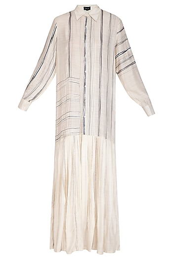 Off White Embroidered Shirt Dress by Breathe By Aakanksha Singh