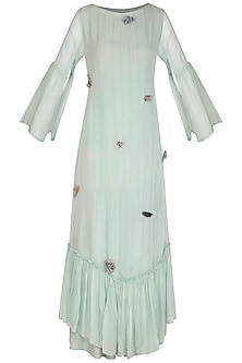 Aqua Blue Embroidered Kurta With Straight Pants by Breathe By Aakanksha Singh
