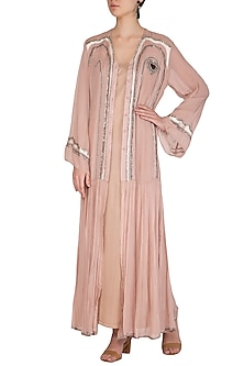 Icy Peach Embroidered Kurta With Inner Dress by Breathe By Aakanksha Singh