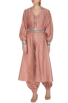 Rusty Peach Embroidered Kurta With Crop Top, Jumper Pants & Belt by Breathe By Aakanksha Singh