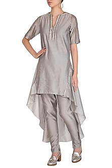 Grey Embroidered High Low Kurta With Cigarette Pants by Breathe By Aakanksha Singh