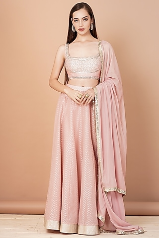 Soft Pink Embroidered Lehenga Set by Breathe By Aakanksha Singh