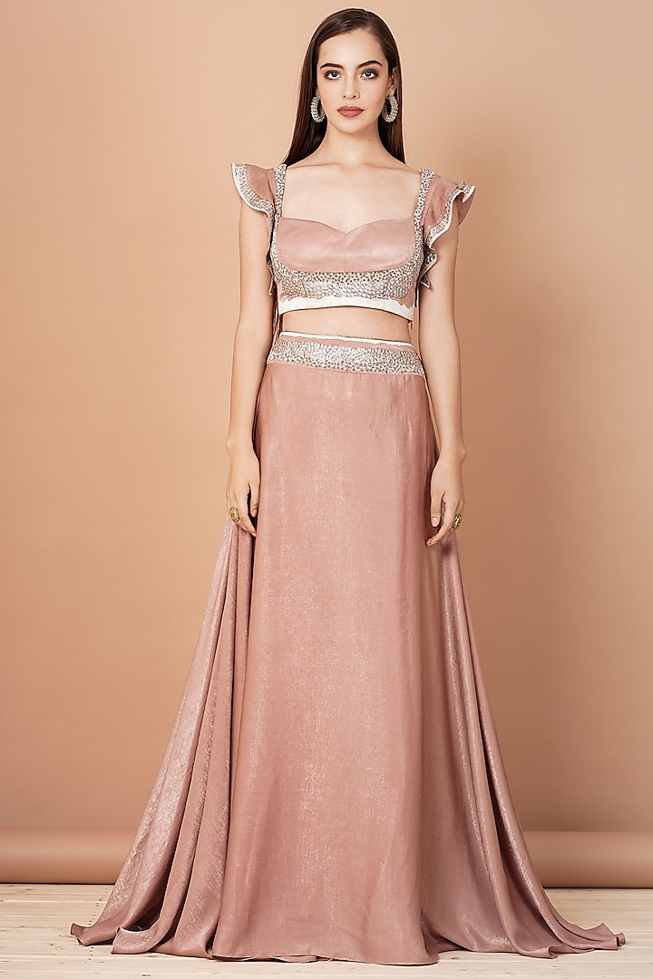 Nude Peach Embroidered Lehenga Set by Breathe By Aakanksha Singh