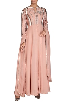 Icy Peach Embroidered Anarkali Set by Breathe By Aakanksha Singh