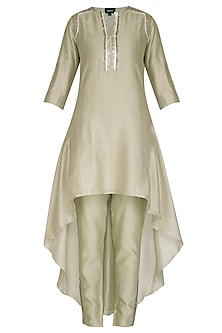 Sage Green Embroidered Tunic With Pants by Breathe By Aakanksha Singh