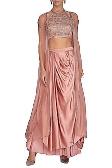 Pink Embroidered Blouse With Draped Skirt & Jacket by Breathe By Aakanksha Singh