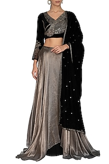 Black & Metallic Grey Embroidered Lehenga Set by Breathe By Aakanksha Singh